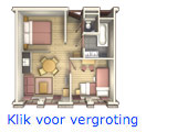 Poorthuys appartement 4 persoons inrichting